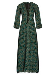 Talitha Marissa Print Lace Up Silk Crepe Dress Green