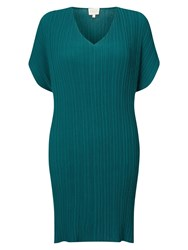 East V Neck Pleat Tunic Dress Teal