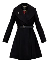 Ted Baker Laureol Flared Skirt Wool Coat Black
