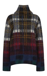 Suno Plaid Funnel Neck Pullover
