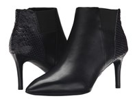 Rockport Total Motion 75Mm Pointy Toe Layer Bootie Black Burn Calf Snake Emboss Women's Boots