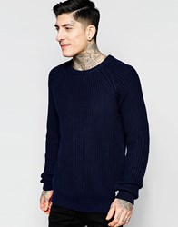 Bellfield Crew Neck Fishermen Cable Knit Jumper Navy