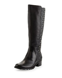 Adrienne Vittadini Links Studded Leather Boot Black