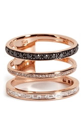 Nikos Koulis 18Kt Pink Gold Ring With Black And White Diamonds