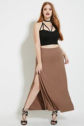 Forever 21 Plus Size High Slit Maxi Skirt Pine Bark