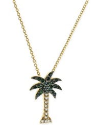 Effy Collection Effy Green And White Diamond Palm Tree Necklace 1 10 Ct. T.W. In 14K Gold