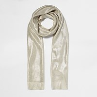 River Island Womens Cream Silver Foil Knit Scarf