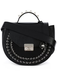 Salar Lace Up Detailing Shoulder Bag Black