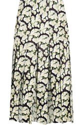 Adam By Adam Lippes Pleated Floral Print Leather And Silk Chiffon Skirt Black