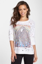 Lauren Moshi 'Brenna' Destroyed Long Sleeve Graphic Top White