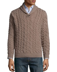 Neiman Marcus Cable Knit Cashmere Pullover Sweater Tan