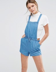 New Look Chambray Drawstring Playsuit Blue