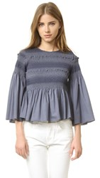 See By Chloe Smocked Blouse Orion Blue