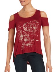 Jessica Simpson Lorani Graphic Print Cap Sleeve Cold Shoulder Tee Mosaic Tapestry