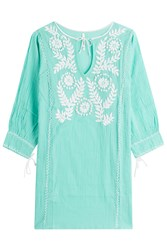 Florabella Embroidered Cotton Tunic Green