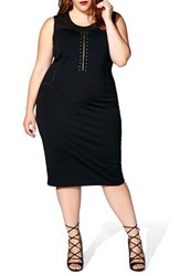 Mblm By Tess Holliday Plus Size Women's Studded Ponte Midi Dress