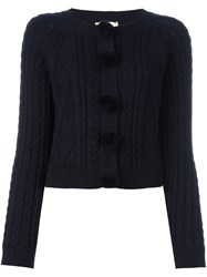 Chinti And Parker Aran Pom Pom Cardigan Blue