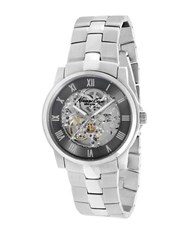 Kenneth Cole Mens Automatic Stainless Steel Transparent Bracelet Watch Silver