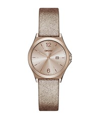 Dkny Parsons Copper Metallic Leather Strap Watch