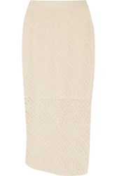 Altuzarra Millier Crochet Knit Pencil Skirt Cream