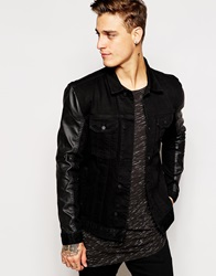 Religion Denim Jacket With Faux Leather Sleeves Black