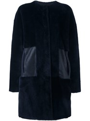 Piazza Sempione Button Down Coat Blue