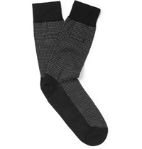 Hugo Boss Houndstooth Cotton Cashmere And Silk Blend Socks Black