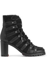 Christian Louboutin Chaletta 70 Studded Shearling And Leather Boots Black