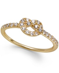 B. Brilliant Cubic Zirconia Knot Ring In 18K Gold Over Sterling Silver 1 4 Ct. T.W.