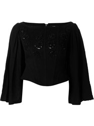 Dresscamp Floral Applique Corset Top Black