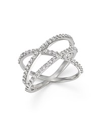 Kc Designs Diamond Criss Cross Ring In 14K White Gold