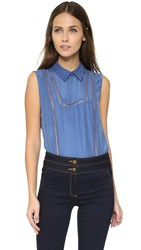 Veronica Beard Aster Collar Bib Blouse French Blue