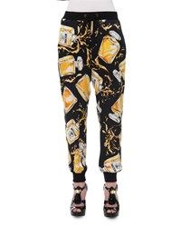 Moschino Perfume Bottle Jogger Pants Black Yellow