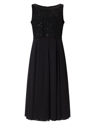 Jacques Vert Floating Bodice Chiffon Dress Black