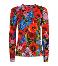 Dolce And Gabbana Floral Print Ruffle Top Female Red