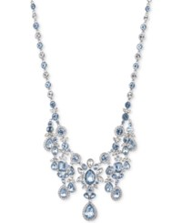 Givenchy Silver Tone Large Crystal Cluster Collar Necklace Blue