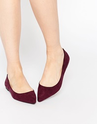 Oasis Pointed Flat Shoes Burgundy