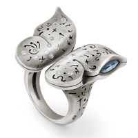 Snake Bones Butterfly Ring With Diamonds In Sterling Silver