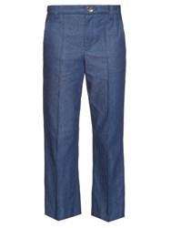 Marc Jacobs Bowie Mid Rise Cropped Jeans Blue