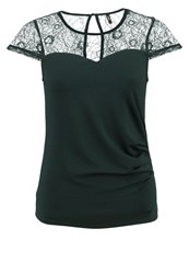 Only Onlannie Print Tshirt Scarab Dark Green