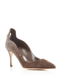 Sergio Rossi Blink Suede Cutout Pointed Pumps Mink Grey