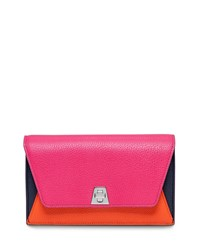 Anouk Leather Chain Envelope Clutch Bag Rose Multi Akris