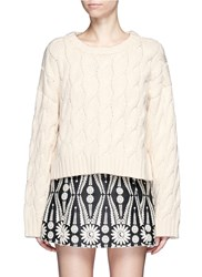 Chictopia Chunky Cable Knit Cropped Sweater Neutral