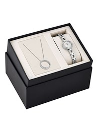 Bulova Crystal Stainless Steel Watch And Pendant Box Set Silver