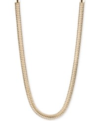 Anne Klein Silver Tone Flat Chain Necklace Gold