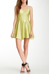 Gracia Flare V Neck Dress Green
