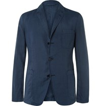 Aspesi Storm Blue Slim Fit Unstructured Linen Blazer Storm Blue