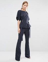 Finders Keepers Pinstripe Flares Navy