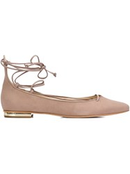 Schutz Pointed Toe Ballerinas Nude And Neutrals