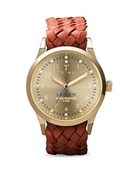 Triwa Lansen Braided Leather Strap Watch 38Mm Gold
